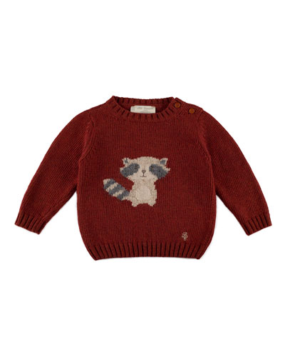Long-Sleeve Raccoon-Intarsia Pullover Sweater, Rust, Size 12M-4