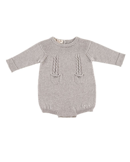 Long-Sleeve Knit Playsuit, Gray, Size 1-6 Months