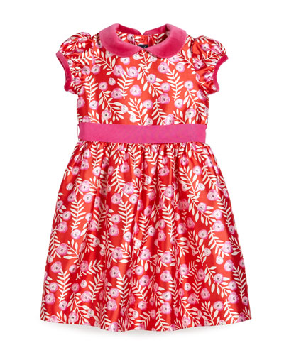 Petite Roses Mikado Dress, Ruby/Fuchsia, Size 3-6