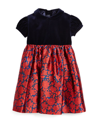 Cap-Sleeve Velvet & Mikado Dress, Navy/Ruby, Size 3-6