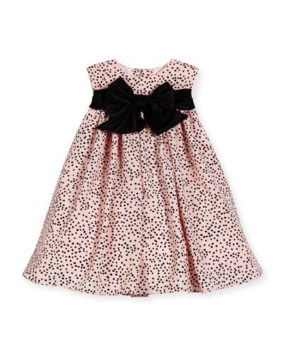 Sleeveless Polka-Dot Shift Dress, Pink/Black, Size 12-18 Months
