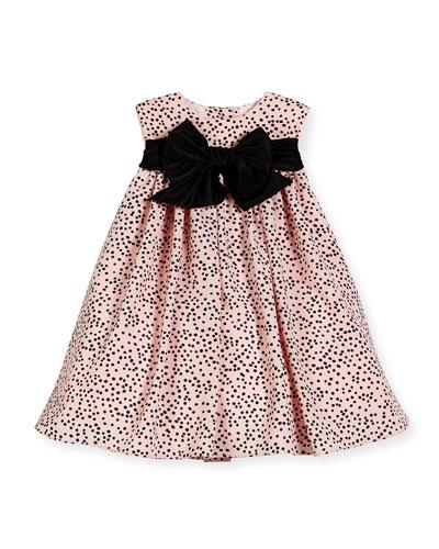 Sleeveless Polka-Dot Shift Dress, Pink/Black, Size 2-6