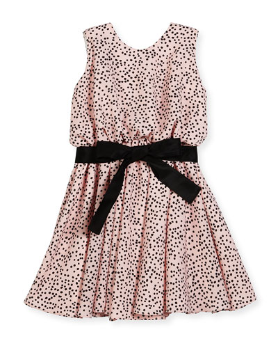 Sleeveless Polka-Dot Swing Dress, Pink/Black, Size 7-14