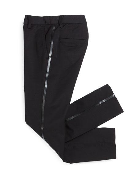 Tribe Faux-Leather-Trim Tuxedo Pants, Black, Size 7-12