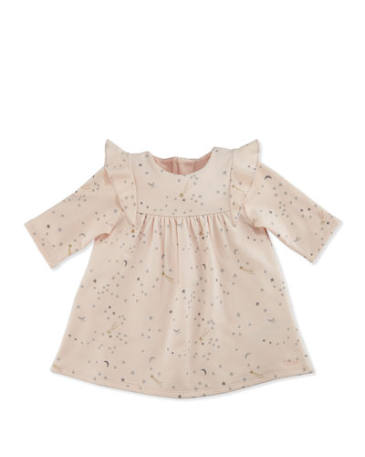 Chic Long-Sleeve Stars Dress, Pink/Gray, Size 3-18 Months