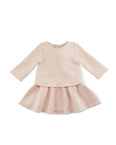 Long-Sleeve Textured Popover Dress, Pale Pink, Size 2-3