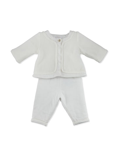 Velvet Button-Front Jacket w/ Padded Pants, Off White, Size 3-18 Months