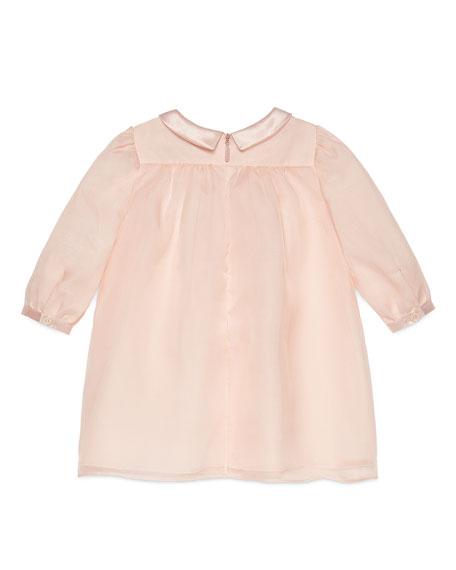Long-Sleeve Silk Organza Ruffle Dress, Pink, Size 6-36 Months