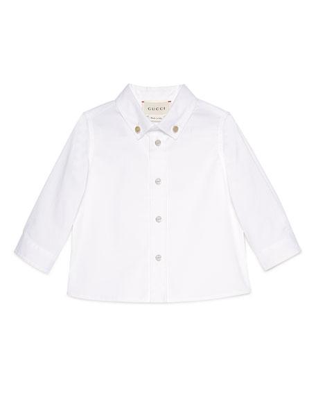 Long-Sleeve Stretch Poplin Sport Shirt, White, Size 6-36 Months