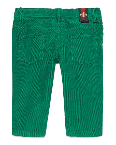Straight-Leg Stretch Corduroy Pants, Green, Size 6-36 Months