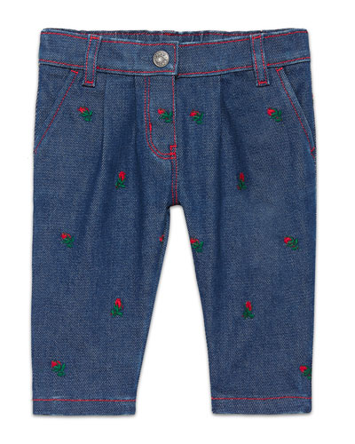 Embroidered Denim Jeans, Indigo/Red, Size 6-36 Months