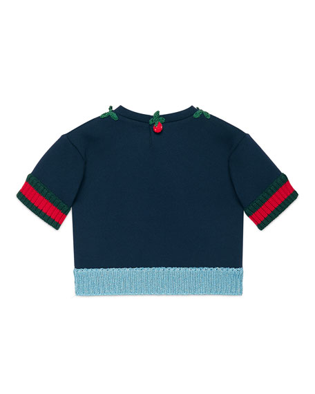 Short-Sleeve Jersey Sweatshirt, Navy, Size 6-36 Months