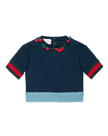 Gucci Short-Sleeve Jersey Sweatshirt, Navy, Size 6-36 Months