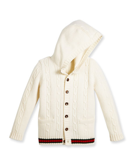 Hooded Cable-Knit Wool Sweater, White/Green/Red, Size 6-36 Months