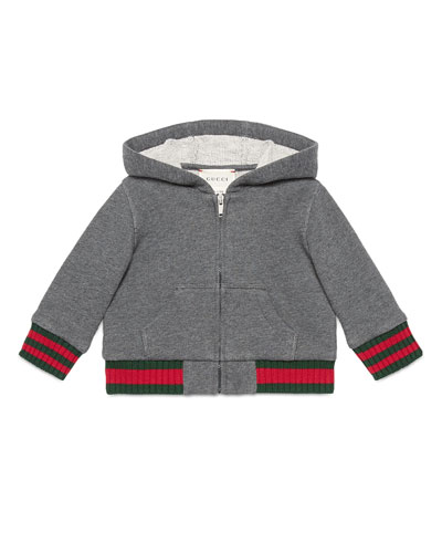 Hooded Felt Zip-Front Sweatshirt, Gray, Size 6-36 Months