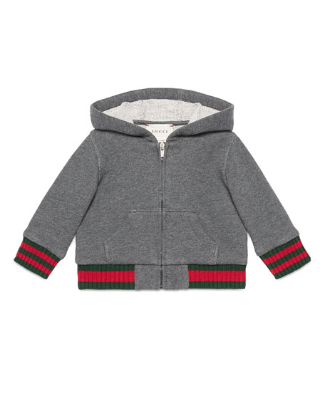 Gucci Hooded Felt Zip-Front Sweatshirt, Gray, Size 6-36