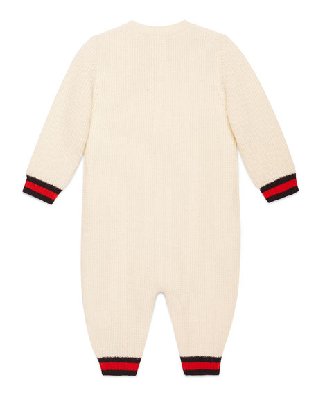 Cashmere Button-Front Coverall, White/Blue, Size 3-24 Months