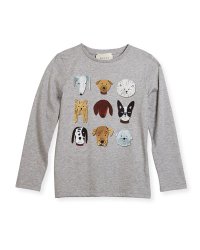 Long-Sleeve Cotton Jersey Dog Tee, Gray, Size 4-12