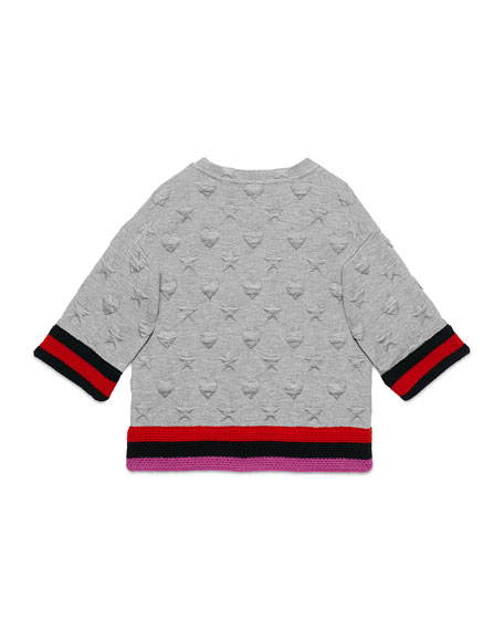 Textured Stars & Hearts Sweatshirt, Gray, Size 4-12