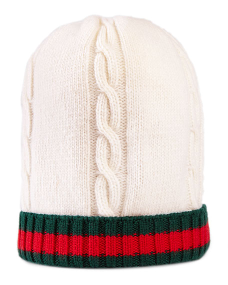 Wool Web-Trim Tricot Beanie
