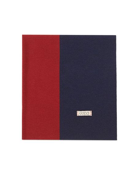 Wool Web Baby Blanket, Green/Red