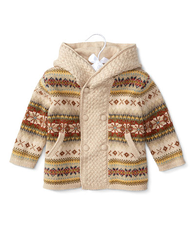 Hooded Wool Fair Isle Sweater, Oatmeal, Size 3-24 Months