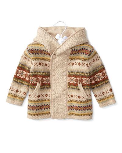 Hooded Wool Fair Isle Sweater, Oatmeal, Size 3-24 Months