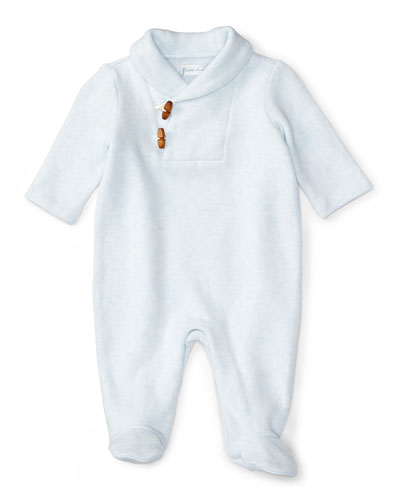 Shawl-Collar Footed Toggle-Front Pima Coverall, Size Newborn-9 Months