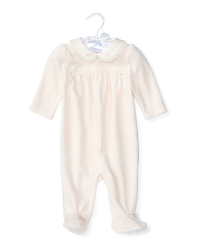 Lace-Trim Footed Velour Coverall, Delicate Pink, Size Newborn-9 Months