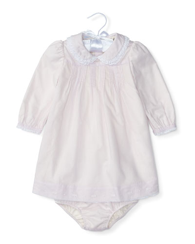Pintucked Brushed Twill Dress w/ Bloomers, Summer Lilac, Size 6-24 Months