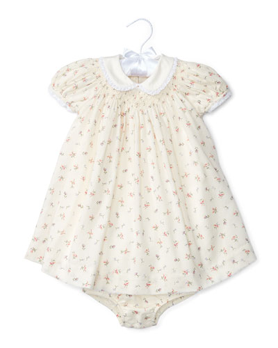 Ribbed Floral Shift Dress w/ Bloomers, White/Pink, Size 6-24 Months