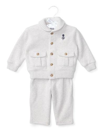 Shawl-Collar Pima Sweat Suit, Size 6-24 Months