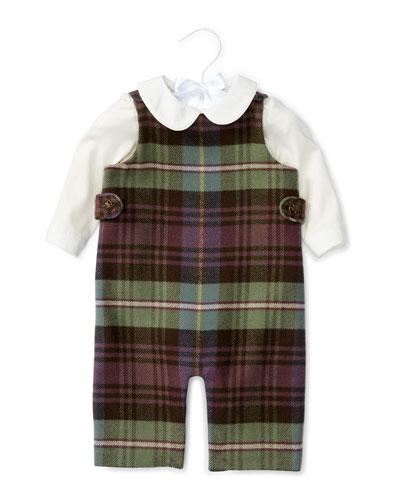 Plaid Cotton-Blend Overalls w/ Poplin Shirt, Blue/Green/Red, Size 6-24 Months