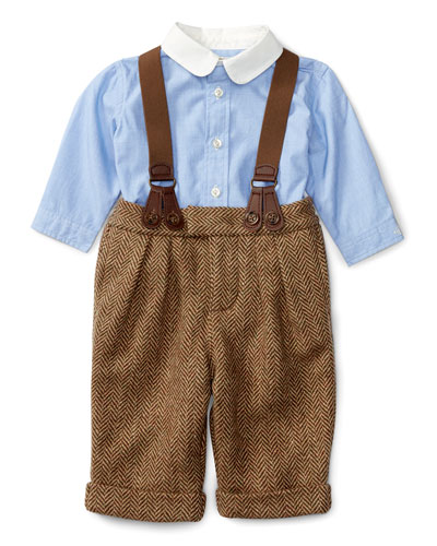 Poplin Shirt w/ Herringbone Pants & Suspenders, Brown/Blue, Size 6-24 Months