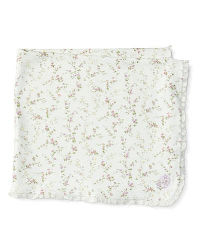 Printed Pima Ruffle-Trim Blanket