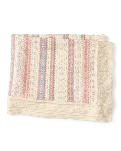 Cotton-Blend Intarsia Blanket, Cream