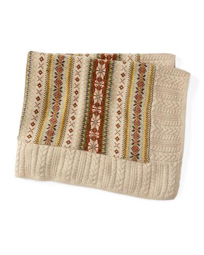 Cotton-Blend Intarsia Blanket, Oatmeal