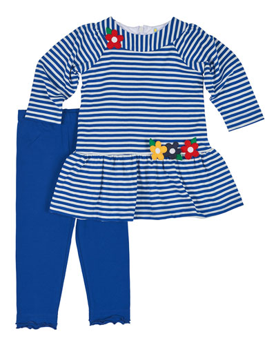 Long-Sleeve Striped Dress w/ Leggings, Royal/White, Size 2-6X