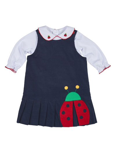 Pleated Corduroy Ladybug Dress w/ Blouse, Navy/White, Size 2-4