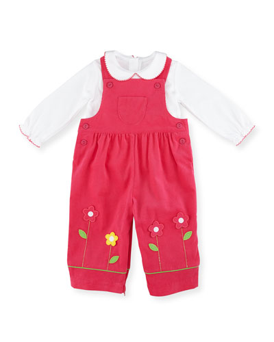 Corduroy Floral Overalls w/ Top, Fuchsia, Size 6-18 Months