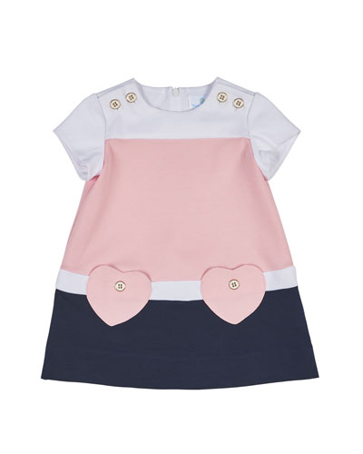 Short-Sleeve Stretch Crepe Colorblock Dress, Pink/Navy, Size 12-18 Months