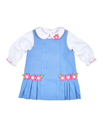 Floral Pleated Corduroy Jumper w/ Collared Blouse, Blue, Size 6-24 Months