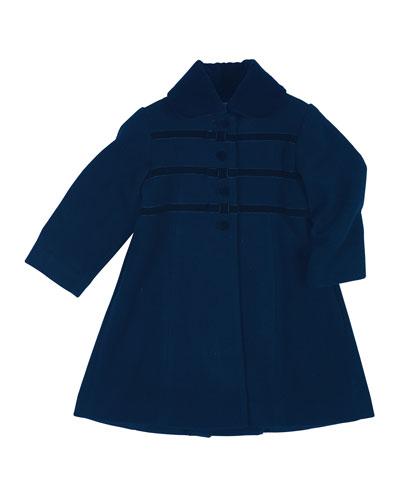 Velvet-Trim Wool-Blend Coat, Navy, Size 2-6X