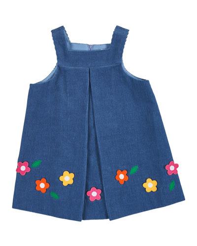 Floral-Trim Corduroy Jumper, Blue, Size 2-6