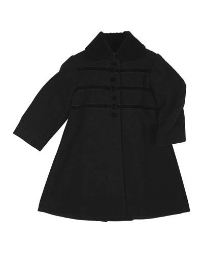 Velvet-Trim Wool-Blend Coat, Black, Size 4-6X