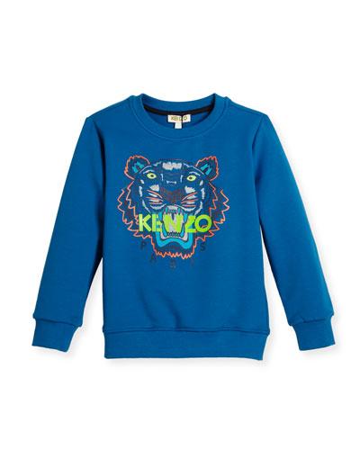 Crewneck Pullover Logo Sweatshirt, Blue, Size 4-6