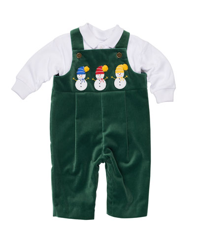 Velvet Overalls w/ Jersey Polo, Green, Size 3-24 Months