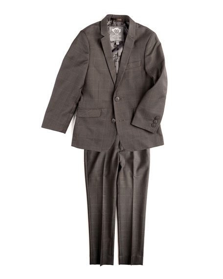 Appaman Mod Check Two-Piece Suit, Charcoal, Size 2T-14