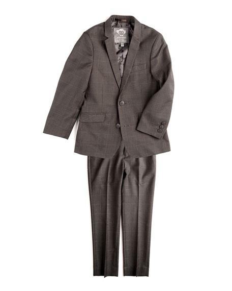 Mod Check Two-Piece Suit, Charcoal, Size 2T-14