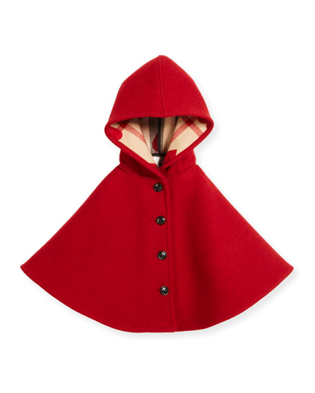 Rosa Hooded Button-Front Wool Cape, Windsor Red, Size M-L